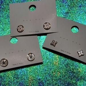 Set of 3 pairs Stainless steel pearl earrings